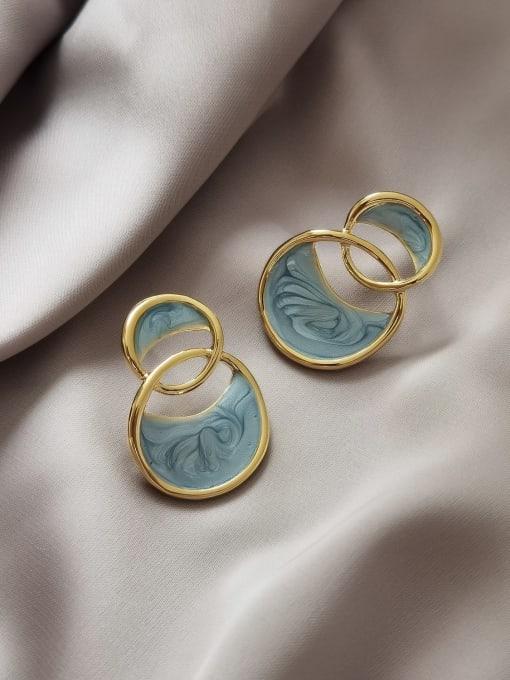 14k Gold [Earrings] Brass Enamel Geometric Vintage Stud Earring